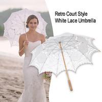 ingrosso decorazione di cerimonia nuziale dell'annata diy-Bomboniera da sposa vintage in pizzo bianco con ombrello da sposa Prop Prop Decor fotografia da sposa fai da te in pizzo con parasole