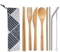 bambu mutfak bezleri toptan satış-DHL Yemek Seti 7 Adet / takım ve 6 Adet / takım Bambu kaşık Çatal Bıçak çubuk hasır fırça Çatal Seti Bez Çanta ile Mutfak taşınabilir nt