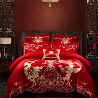camas dobles chinas al por mayor-Juego de cama de bordado de boda chino tradicional Kit de 4 piezas de algodón King Queen Size Doble felicidad Longfeng Dragon Phoenix