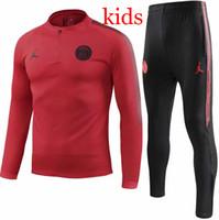 Wholesale black children tracksuits resale online - PSG tracksuit new Paris KIDS redTraining suit MBAPPE maillot de foot Paris black child Sportswear jacket kit