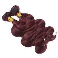 Wholesale black hair red wine resale online - Unprocess Hair a Grade j Body Wave Bundles Deals Virgin Malaysian Human Hair Extension Weaves Wine Red Hair For Black Women