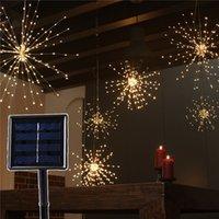 dış mekan yılbaşı dekorasyonları güneş aydınlatma toptan satış-DIY Fireworks Güneş Dize işıklar 120Led 160Led Açık Bahçe Dekorasyon Için 200 LED Solar Lamba Buket Noel Şenlikli Peri ışıkları