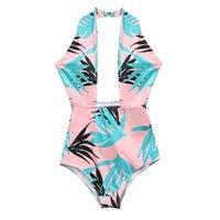 Wholesale swimwear beach wear for ladies online - 2019 Sexy High Cut Halter Swimwear One Piece Monokini Swimsuit for Women Leaves Print Swimming Bodysuit Bathing Suits Lady Beach Swim Wear