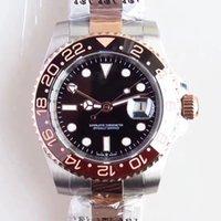 точечные наручные часы оптовых-40 мм автоматический черный циферблат высокого класса мужские наручные часы мужские часы с розовым золотом два тона Браслет из нержавеющей стали и точка часовые метки