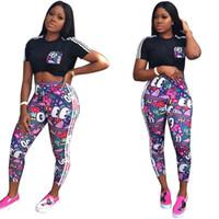 Wholesale pants clothe pieces for sale - Group buy Women Clothing Piece Set Tracksuit AD Brand Designer t shirts Cartoon Pants Leggings Two Pieces Outfits Stripes Sports Suit C61703