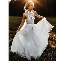 Wholesale halter top beach wedding dresses for sale - Group buy Bohemian A line Chiffon Beach Wedding Dresses Halter Illusion Top Backless Country Wedding Gown Floor Length Rustic Bridal Dress M104