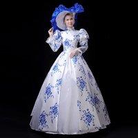 ingrosso palline bianche del vestito blu-Personalizzato 2019 stile cinese bianco e blu Marie Antoinette Dress Mandarin Collar Southern Belle Ball Gowns costumi teatrali