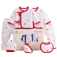 Wholesale baby clothing new design resale online - Newborn Cotton GiftSets Design New Baby Thick Thermal Underwear Kids Clothes Girls Infant Pieces Suits With Gifts Box
