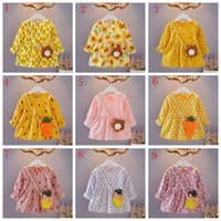 Wholesale girls dresses online - Toddler kids year old girls suit baby long sleeve flower dresses with bag child boutiques