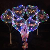 globos de corazon led al por mayor-Forma del corazón del amor Forma de la luz LED Globos de Bobo Luminoso Globo transparente con el palillo para el festival del banquete de boda de Navidad Decoración