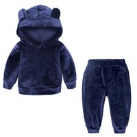 Wholesale cute baby sports clothes for sale - Group buy Autumn Winter Kids Clothing Set Sports Cute Baby Clothing Sets Velvet Hooded Sweatshir Wing Ear Designer Clothes stylet LXL562