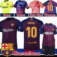 uniforme al por mayor-10 Messi Barcelona Soccer Jersey 2019 Hombres Mujeres Niños kits 8 Iniesta 9 Suárez 26 MALCOM 11 Dembele 14 7 Coutinho Camisetas de uniformes de fútbol