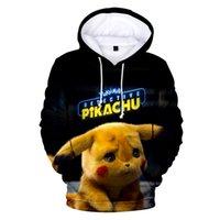 sudadera pikachu al por mayor-Detective Pikachu Sudaderas con capucha impresas en 3D Mujer / Hombre Moda Sudaderas con capucha de manga larga Ropa de moda casual Streetwear