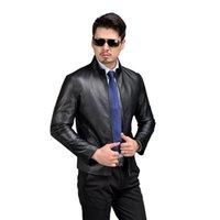 echtes leder braun jacke großhandel-100% Schaffell Herren Echtlederjacke Fashion Spring Herren Lederjacke Real Black Brown 58509
