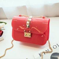 цветные заклепки с сумочкой оптовых-Candy Color Jelly Bag Цепная сумка через плечо ПВХ Кожаные сумки для женщин Роскошный дизайнер Заклепки Crossbody Sac a Main Femme