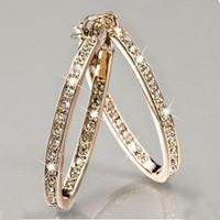büyük ilmekler altın küpeler toptan satış-Moda Daire Rhinestone Kanca Küpe Kadınlar Için Bildirimi Büyük Gümüş / Altın Renk Yuvarlak Daire Döngü Küpe Parti Hediye Z5N949