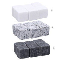 Wholesale drinks ice cubes for sale - Group buy 6pcs set Whiskey Stones Rock Set Ice Cube Sipping Alcohol Drinks Cooler Party Wedding Christmas Favor Gift Bar Accessories MMA2003