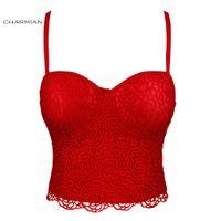 top de encaje de espagueti al por mayor-Las correas de espagueti rojas atractivas de las mujeres de Charmian Rose sujetan el sujetador más pechugón Corset Crop Top