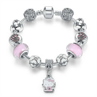 ingrosso gioielli di natale dei capretti-16-21CM Kitty fascini fit pandora braccialetto di stile argento perline per bambini braccialetto gioielli fai da te accessori per i bambini di natale regalo delle donne con la scatola
