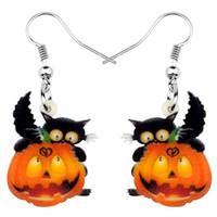 jóias para meninas adolescentes venda por atacado-Kitten acrílico Black Cat Halloween Pumpkin Brinco Dangle Gota Festival Jóias para meninas Mulheres encantos adolescentes presente Hot Sale