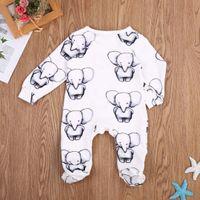 vêtements mignons bébé éléphant achat en gros de-Garçon Fille Vêtements de coton bébé mignon nouveau-né Les bébés Little Elephant Romper Jumpsuit Tenues Vêtements