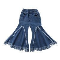 новые джинсы для девочек оптовых-2019 New Fashion Newborn Baby Girls Jeans Trousers Kids Toddler Wide Leg Denim Pants Bottoms 2-7Years