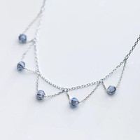 Wholesale hollow ball sterling silver jewelry for sale - Group buy luxury jewelry S925 sterling silver necklace bluish violet balls tassle crystal hollow out triangle pendant necklace chokers for women