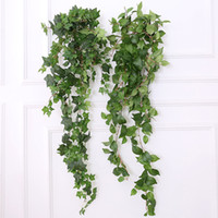 ingrosso amante del fiore viola-1.2M / 47.24 '' Fake Green Garland Artificiale Appeso Piante di plastica Foglie Ivy Spray Vine Decorazione della parete Faux Foliage Matrimonio Giardino Wall Deco