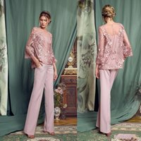 Wholesale chiffon prom dresses jewels resale online - Vintage Pink Pantsuits Mother Of The Bride Dresses Jewel Neck Long Sleeves Lace Prom Dress Chiffon Pants Formal Wedding Guest Gowns Cheap
