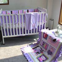 baby tier krippe bettwäsche groihandel-3d Stickerei Kinderbett Bettwäsche-Sets Lila Farbe 5 stücke Ein Kit Tier Blumen Kinder Bett Anzug 247dhE1