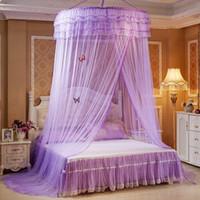 yatak örtüleri toptan satış-Konik Perdeler Fly Ekran Netleştirme Hata Ekranı Uzaklaştırıcı Yatak Cibinlik Yatak Canopy Rusee Dantel Kubbe Netleştirme Yataklar Çift