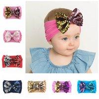 saç sarar yay toptan satış-19 Renkler Bebek Big payetler ilmek Bantlar Moda Pullu Bow Baş şal Bebek Üst Düğüm Naylon Kafa Kız Saç Aksesuarları M455