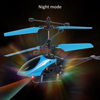 Wholesale blue flying toys resale online - Hot Flying Helicopter Mini RC Infrared Induction Aircraft FlashingLight Drone Remote Gesture Sensing Fly Control Toys for Kid Christmas Gift