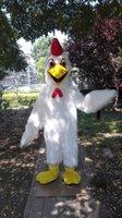 personagens de desenhos animados da galinha venda por atacado-Dia das bruxas adorável Branco de Pelúcia frango Traje Da Mascote galo galo personagem de desenho animado Trajes de Carnaval de Natal Paty Fantasia Vestido