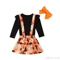 Wholesale shirts suspenders resale online - 3Pcs Newborn Toddler Baby Girl Halloween Outfits Black T Shirt Tops Suspender Skirt Headband Kids Clothes Set