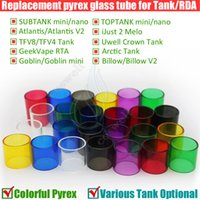 mini yeniden inşa tankı toptan satış-Cam Değiştirme Pyrex Tüp Subtank Toptank Mini Nano Triton Atlantis Sadece melo 2 TFV4 Arctic GeekVape Taç Goblin 2 Tankı Rebuildable