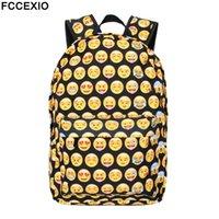 ingrosso zaino nero emoji-FCCEXIO Funny Black Emoji Zaino 3D BackPack Viaggio Softback School Bag Mochila School Backpack For Teenage Girls Bagpack # 123911