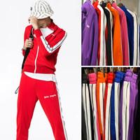 kadınlar için moda koşu takımları toptan satış-Yeni Palmiye Melekler Eşofman Erkekler Kadınlar Vintage Spor Sweatsuit Moda Çizgili Ceket Pantolon Spor Koşu Spor Salonu Ter PXG1025 Suits