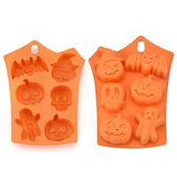 Wholesale halloween chocolate molds for sale - Group buy Halloween Silicone Baking Molds Nonstick Cake Molds Muffin Mold Pumpkin Bat Skull Ghost Shape Ice Cookies Chocolate Mold MMA2563