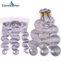satış kapatma için saç paketleri toptan satış-Silanda Saç Popüler Gri Vücut Dalga Brezilyalı Remy İnsan Saç Örgüleri Ile 3 Dokuma Paketler 13X4 Dantel Frontal Kapatma Satılık Ücretsiz Nakliye