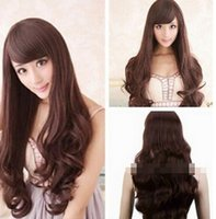 Wholesale long brown hair costume for sale - Group buy Anime Fashion Women Curly Costumes Party Hair Wig Brown Long Wig