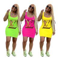 lustige gedruckte kleider großhandel-Lustige Digitaldruck Damen Freizeitkleider Mode Pullover Ärmellose Hosenträger Kleider Enge Wickelkleider Weibliche Kleidung