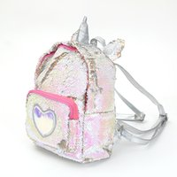 Wholesale leather satchel book bags resale online - Sequins Unicorn Backpack RTS Women PU Leather Mini Travel Soft Bag Fashion SchoolBag For Teenager Student Girls Book Bag Satchel