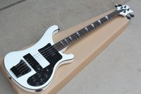 Wholesale custom electric bass resale online - Hot sale Factory Custom New strings Rosewood Fingerboard White Electric Bass Guitar with Black hardware Black Pickguard offer customize
