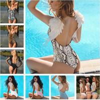 engel flügel kleidung großhandel-Frauen Kleidung Neue Frauen Overalls frauen Badeanzug Pure Color Angel Wings Badeanzug Bikini Stilvolle Und Sexy Frauen Overalls