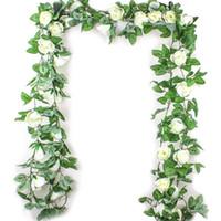 hochzeit hängen blumen großhandel-2,5 Mt Simulation Rose Blume Rattan Künstliche Blume Reben Seide Glyzinien Girlande Hängen Rattan Für Hochzeitsbogen Garten Wand Deco