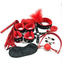 brinquedos bdsm para homens escravo venda por atacado-10 Pçs / set Couro Bdsm Men Bondage Set Restrições Brinquedos Sexuais para Casais Mulher Slave SM Jogo Produtos Do Sexo Algemas de Mão