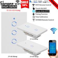 wifi lichtschalter großhandel-Sonoff T1 US EU UK Mit Google-Startseite arbeiten Alexa Smart Home WiFi RF-Fernbedienung Wandlichtschalter Wand-Touch-Lichtschalter