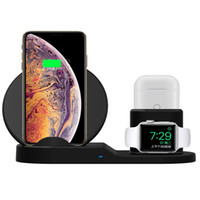 ingrosso caricabatterie base-Quick Qi Wireless Charger per orologio Apple 1 2 3 4 XS XR X 8 Plus Samsung titolare AirPods Base di ricarica rapida