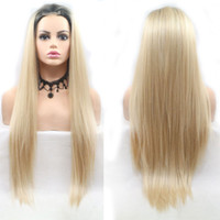Wholesale synthetic wigs online - 24 Inch Synthetic Lace Front Wig Lace Middle Part Long Straight Hair Cosplay Wigs For Women Ladies Daily Wear